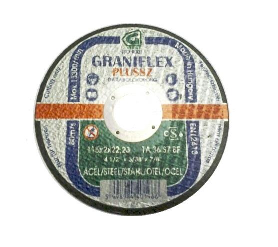 Vágókorong acél 115×2,0×22,23mm GRANIFLEX Kód:440196