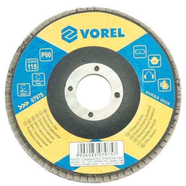 Csiszolótárcsa 115mm Lamellás p60 VOREL Kód:207975