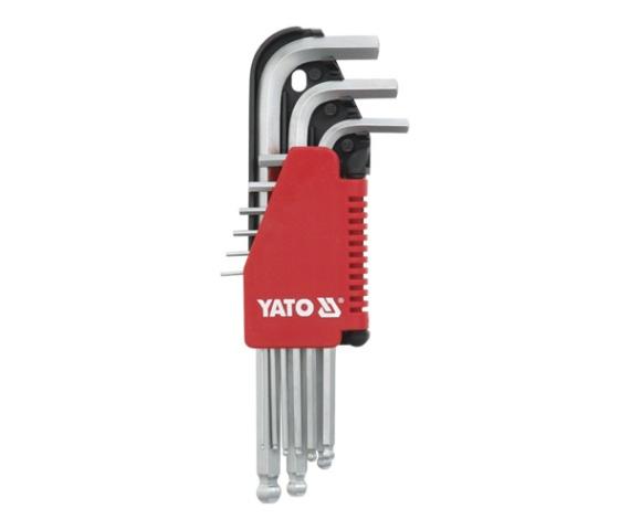 Imbusz készlet YATO 9 részes gömbfejes CrV. 1,5-10mm Kód:YT-0506
