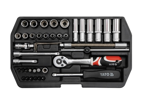 Dugókulcs készlet 42 részes YATO 1/4col 4-14mm CrV. Kód:YT-1448
