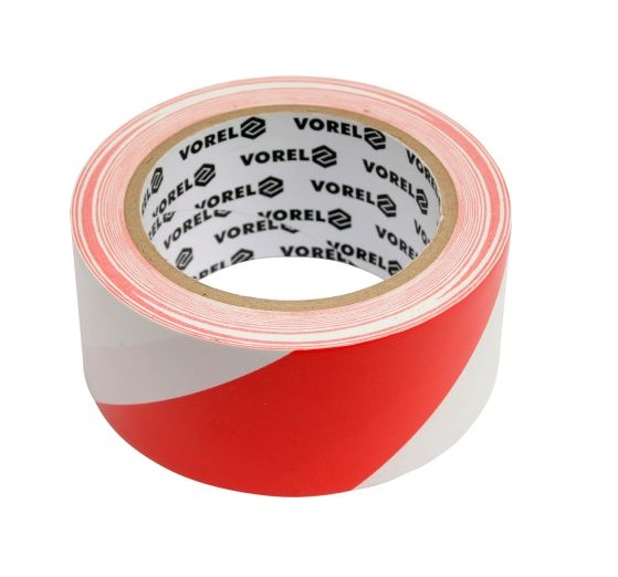 Figyelmeztető ragasztószalag 33m×48mm  piros-fehér PVC Kód:275230