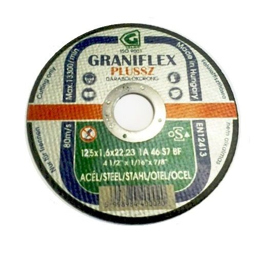 Vágókorong acél 125×1,6×22,23mm GRANIFLEX Kód:440013