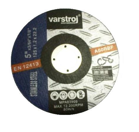 Vágókorong INOX 125×1,2×22,23mm 25db/csomag VARSTROJ Kód:25660