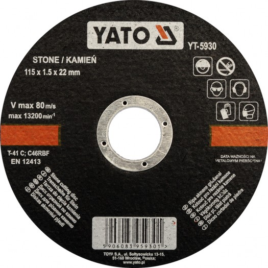 Vágókorong kőhöz 5db/klt. 115×1,5×22mm Kód:YT-5930