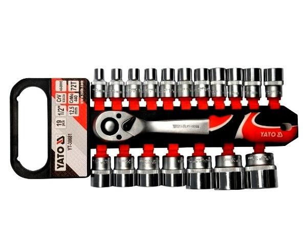 Dugókulcs készlet  19 részes YATO 1/2 col 8-32mm CrV. Kód:YT-38681