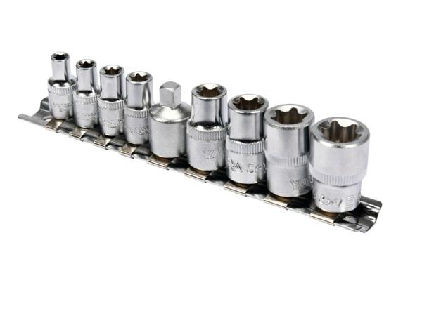 Dugókulcs készlet  9 részes TORX 1/4-3/8 col CrV Kód:YT-0520