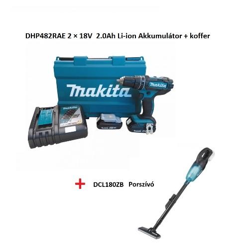 Makita ütvefúró és csavarbehajtó 18V + porszívó Kód:DHP482RAE