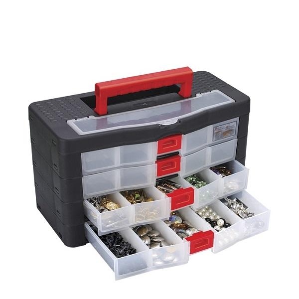Szortiment tároló doboz 4-s műanyag 390×190×215mm Kód:35220