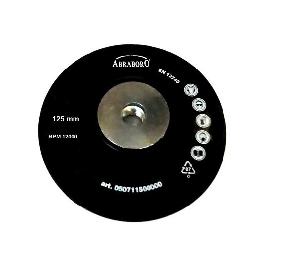 Csiszoló gumitányér, fiber 125 mm × M14 menet, flexre ABRABORO Kód:209115